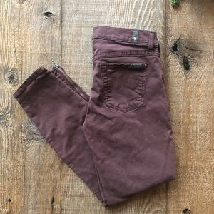 7 for all Mankind Dusty Burgundy Cropped Skinny
